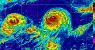 颱風的衛星雲圖。