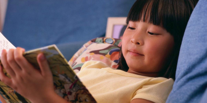 kid reading asian