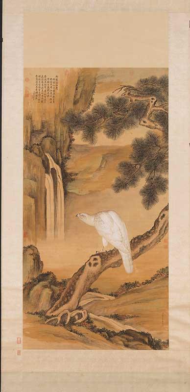 故宮院藏的「清郎世寧畫白鷹 軸」。