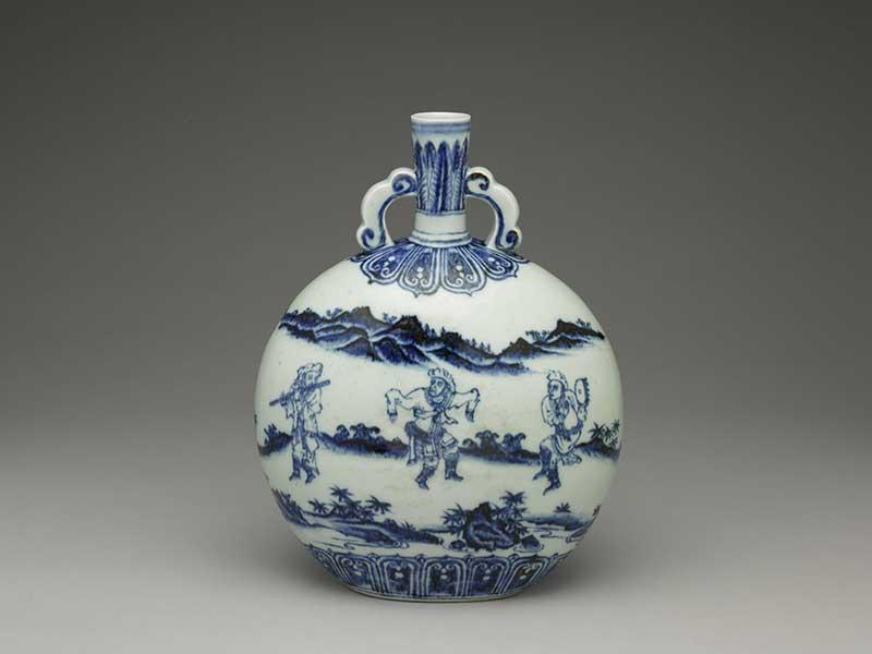 傳世惟二描繪西亞雜耍藝人之「明永樂青花人物扁壺」。