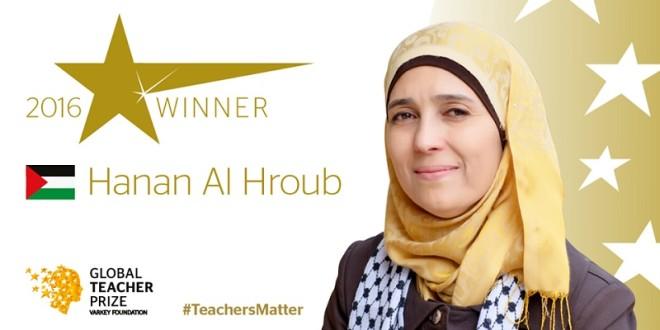 巴勒斯坦女教師赫洛普(Hanan al-Hroub)榮獲第二屆全球教師獎,她擅長輔導有暴力創傷的兒童。(翻攝自Global Teacher Prize臉書)