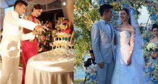 吳奇隆與劉詩詩20日在峇里島補辦婚宴,浪漫感人。(合成照,翻攝微博)