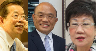 外傳蔡英文外交的布局,將由謝長廷(左)派駐日本、蘇貞昌(中)派駐新加坡、呂秀蓮(右)派駐巴拿馬。  圖片來源:臉書、wiki