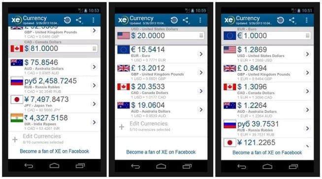 即時得知匯率是小資族精打細算的好助手。〈圖片來源: XE Currency app〉