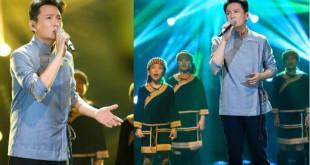 張信哲領台東桃源國小20位原住民孩童,在《我是歌手4》合唱「親愛的小孩」。(合成照,翻攝張信哲臉書)