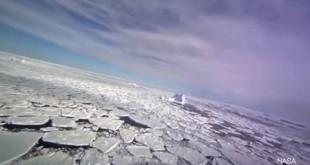 全球暖化使北極海冬季冰層覆蓋面積逐年變少,許多冰川紛紛融化,變成一塊塊的薄冰,漂浮在海面上。(翻攝自YouTube)