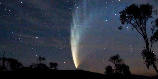 彗星尾係由許多冰晶、碎石與塵埃構成,若落入大氣層就有可能出現流星雨。圖為15年拍攝的麥克諾特彗星。〈圖片來源:翻攝維基百科〉