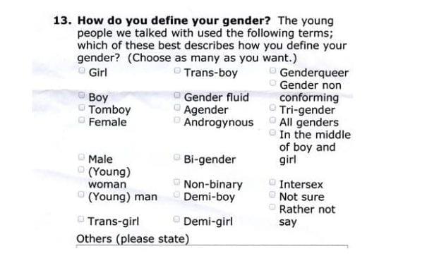英國布萊頓區小學,發給學生一張調查表,上面有許多性別選項。(圖片摘自網路)