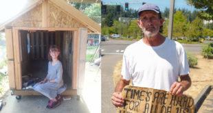 海莉與小屋的合照(左),第一位邀請入住小屋的是她的遊民好朋友愛德華(右)。(圖片摘自網路)