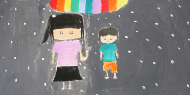 嘉義的小蓁用這幅畫說出她對於失親兒社工的感受。(圖片來源:失親兒福利基金會)
