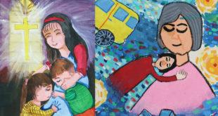 屏東的高年級生小禎在作品〈左〉中描述母親就像聖母瑪麗亞的化身,另幅作品〈右〉也畫出對母親滿滿的依賴與思念。〈圖片來源:失親兒基金會〉