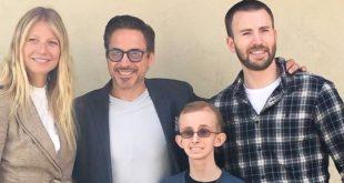 「小辣椒」葛妮絲派特洛、《美國隊長》克里斯艾文和《鋼鐵人》小勞勃道尼,一同探望罹癌粉絲。(圖片來源/ Ryan Wilcox臉書)