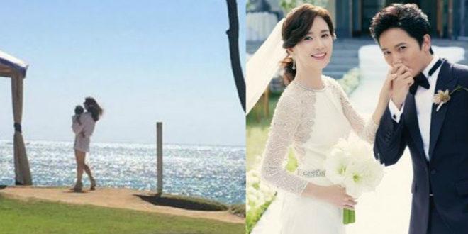 韓星池城在IG上分享妻子李寶英抱著寶貝女兒在海邊漫步的照片。(合成圖,圖片來源:翻攝自池城Instagram、翻攝自韓網)