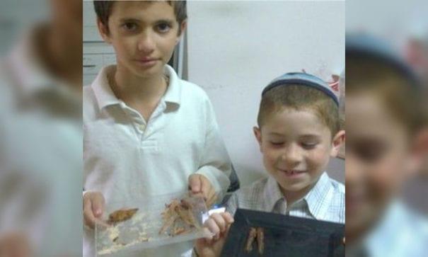 梅納赫與弟弟正在做蝗蟲巧克力。(圖片來源:BBC)