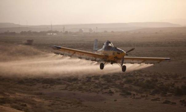 以色列農業部在蝗蟲過境之時,每日派4架飛機空灑殺蟲劑。(圖片來源:BBC)