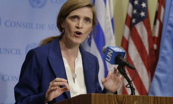美國駐聯合國大使莎曼珊抨擊,NGO過度干涉會議。(圖片來源:theguardian)