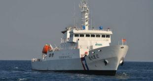 海巡署派出「巡護九號」前往沖之鳥海域護漁。  圖片來源:海巡署網站