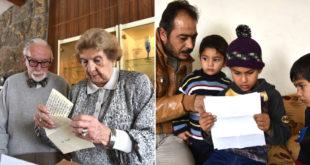 一位87歲的老奶奶(左圖右,經歷二戰重生,如今寫信鼓勵正內戰的敘利亞難民,正在看信的是撒黑達的弟弟(右圖中)。(圖片來自:mashable.com)