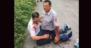 埔里員警黃信文在值勤時負傷,王姓嫌犯持槍擊發貫穿黃姓員警左手肘,仍遭壓制在地。  圖片來源:爆料公社