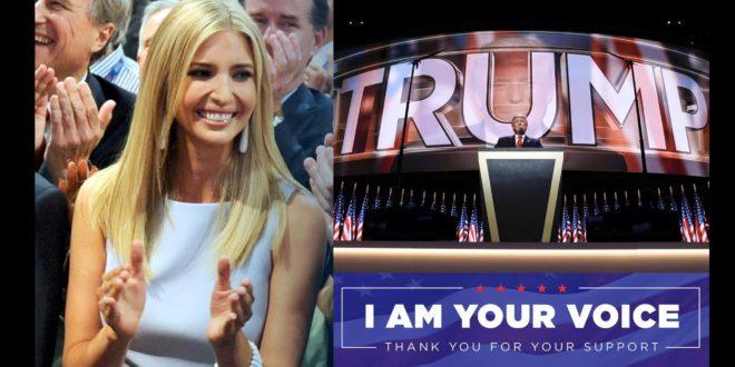 川普發表演說,要讓美國變得更好更安全。34歲長女伊凡卡為父親演講,成為全場焦點。(Donald John Trump臉書)