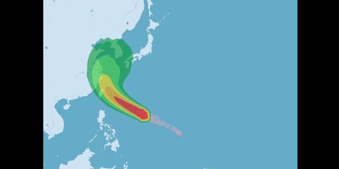 氣象局指出,目前尼伯特持續往西北西的方向移動,朝台灣東方海面接近,預估在7日到8日將是颱風最接近台灣的時候。〈圖片來源:氣象局〉