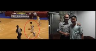 〈左〉少年從小就喜歡打籃球,曾代表學校參加全國比賽得冠軍,目前北上就學參加籃球隊;〈右〉少年與王姓員警合照。〈圖片來源:翻攝網路〉