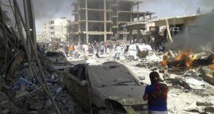 「伊斯蘭國」派出自殺炸彈客,攻擊敘利亞庫德族人居住的北部城市卡米什利,爆炸現場宛如人間煉獄。(圖片來源/翻攝自網路)