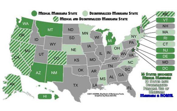 目前全美開放大麻的狀況。(圖片來源:greencultured)