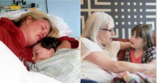 左:黛比在醫院陪伴婕德。/右:10年後,黛比與受到婕德心臟捐贈的娜莉會面。(圖片來源:翻攝網路)