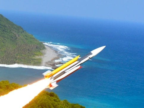 雄三飛彈為我國自行研發的反艦飛彈,威力強大。 圖片來源:國家中山科學研究院