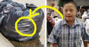 艾迪一出生就被丟棄在垃圾袋裡。(圖片來源:翻攝網路)