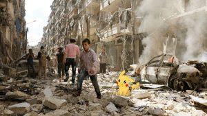 寶可夢出現在戰亂中的敘利亞。(圖片來源:翻攝網路)