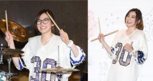 俏皮鼓后羅小白今(23)日在簽書會上大秀一段打鼓表演。(圖片來源:時報出版提供)