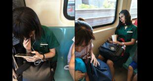 李姓老闆娘不滿兩名北一女學生在捷運上未讓座,在臉書上PO照片痛斥可恥、「這是誰家女兒該作(做)雞吧!」(圖片來源/爆料公社)