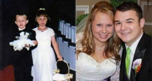 美國一對新人,17年前一起當小花童,17年後成為夫妻。(圖片來源:翻攝網路)