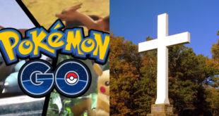 寶可夢旋風襲台,部分教會更因遊戲特性被設定為站點,吸引不少玩家到教會外面抓寶。   圖片來源:臉書截圖、Brent Moore on flickr