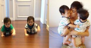 林志穎重視家庭生活,看到雙胞胎兒子學會爬行,心裡感慨萬千。(合成圖,圖片提供:翻攝夢想家林志穎微博)