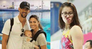 美國游泳名將「飛魚」菲爾普斯帶著未婚妻及兒子參加奧運(圖左),中國20歲的游泳選手傅園慧(圖右)因其說話逗趣,被稱為「表情姊」,意外的成為網紅。(合成照/圖片來源/翻攝自網路)
