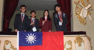 此ˇ次我國參加國際化學奧林匹亞競賽的代表團奪下3金1銀的好成績。  由左至右:王冠為、洪瑞謙、盧貞宇及徐衍新。  圖片來源:教育部提供