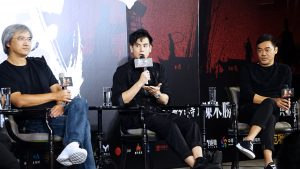 導演陳木勝,演員劉青雲、彭于晏現身宣傳活動。(圖片來源:吳宜庭攝)