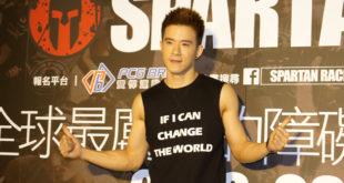 JR紀言愷今參加障礙路跑記者會,挑戰「剝皮跳」。(謝婷婷攝)