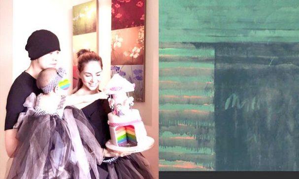周杰倫在父親節放上一幅抽象畫(右),結果被誤會成老婆昆凌的第二胎超音波照片。(圖片來源:周杰倫臉書)