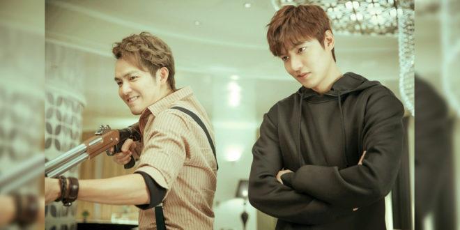 李敏鎬(右)及鍾漢良(左)在電影中有搶眼對手戲,鍾漢良稱讚李敏鎬資質好,學中文一週就開口對話。(圖片由華映娛樂提供)