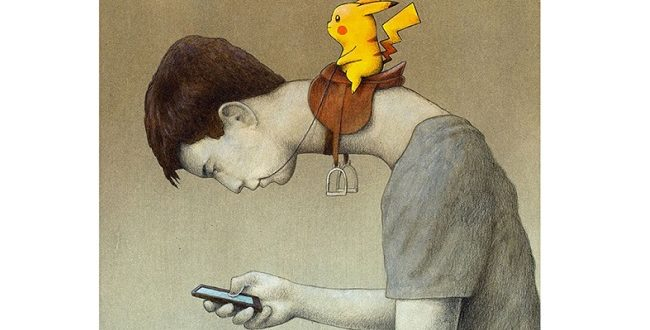 波蘭的插畫家庫琴斯的新作「控制」,旨在嘲諷玩家過度沉迷於寶可夢遊戲中。(圖片來源/翻攝自庫琴斯臉書)