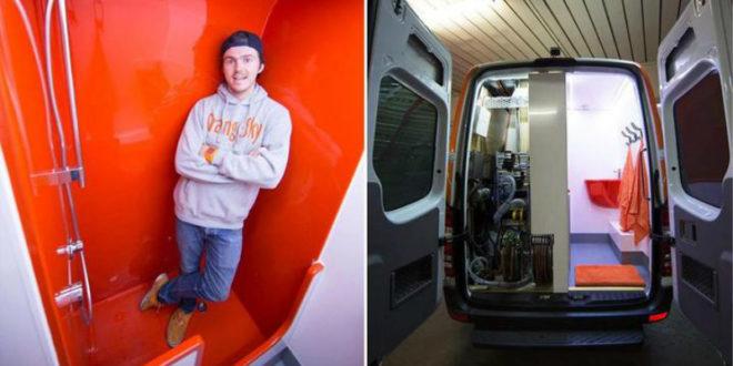 澳洲青年發明行動沖澡車,提供遊民免費沖澡的服務。(圖片來源:http://www.9news.com.au/)