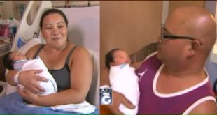 美國一名天兵媽媽費弗爾拉(圖左)與丈夫帕雲高(圖右),在勞動節喜迎新生兒,而費弗爾拉在過去懷孕九個月竟毫不自知!(圖片來源/翻攝自網路)