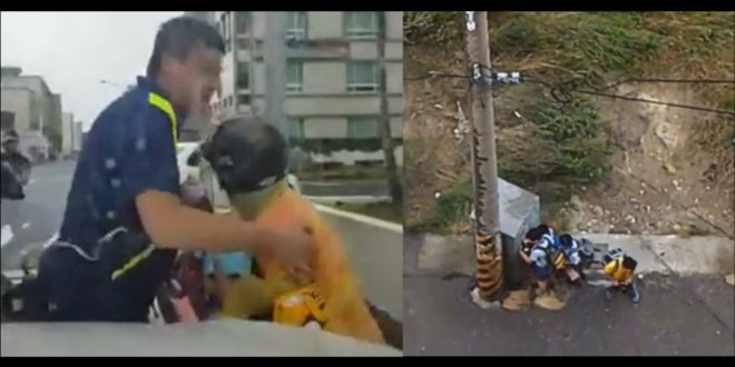 嘉義縣南新國小孩躲在舊衣回收箱後避風(右圖),台南一位奶奶要去國小接孫子下課,機車被風雨吹倒在地,連站都站不穩(左圖)。