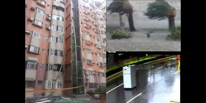 彰化大樓玻璃電梯被強風吹毀(左)、花蓮和平港警所前棕櫚樹被強風吹折腰(右上)、花蓮國興一街竟有雙門電冰箱被大風吹著跑(右下)。(翻攝網路)