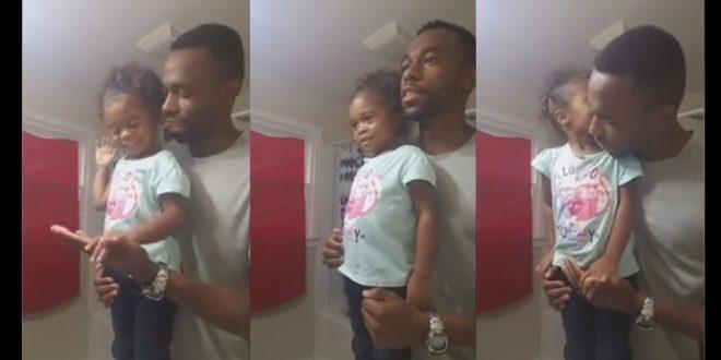美國一位爸爸,為自己剛上學的女兒加油打氣,影片PO上網路後,超過1400萬人觀看,網友看過影片後直呼:「正能量超高的」!(圖片來源:翻攝自youtube)