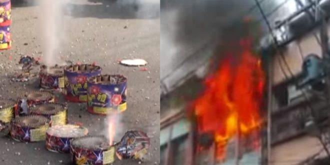 四射的煙火不慎射入當地一家知名的湯圓店,引發熊熊大火。(圖片來源:翻攝自youtube)